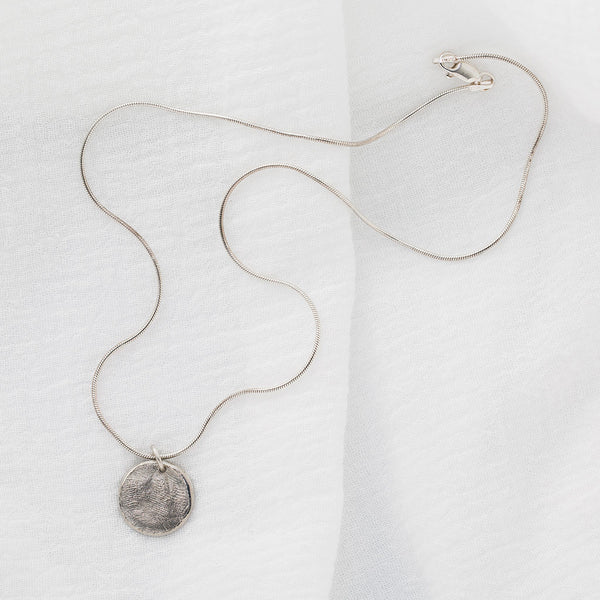 18 in Sterling Silver Round Snake Chain and Fingerprint Pendant
