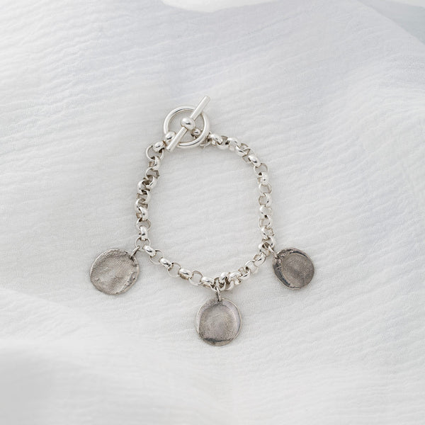 7.5 in Sterling Silver Rolo Bracelet with Toggle Clasp