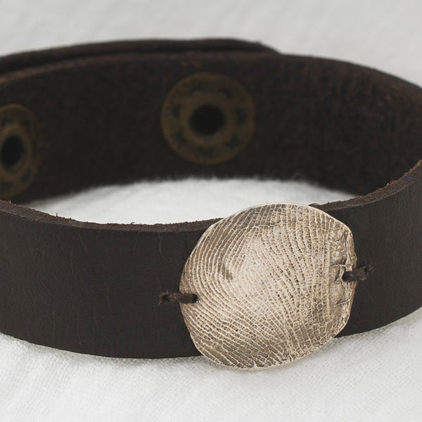 Half Inch Dark Brown Leather Cuff and Pendant Detail