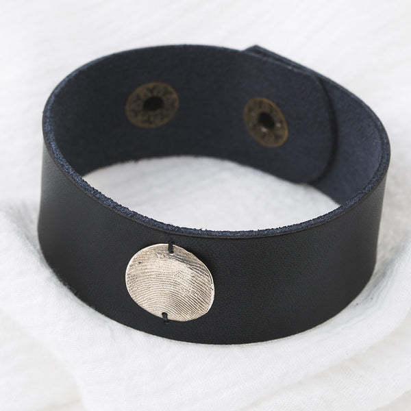 Inch Black Leather Cuff and Pendant Detail