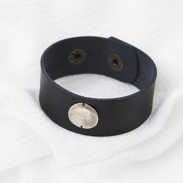 Inch Black Leather Cuff and Pendant