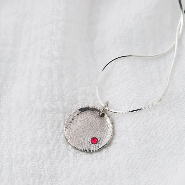 Priceless Prints Fine Silver Fingerprint Pendant with Swarovski Crystal Detail