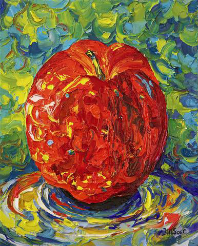 Apple Palette Knife Painting by Jill Saur