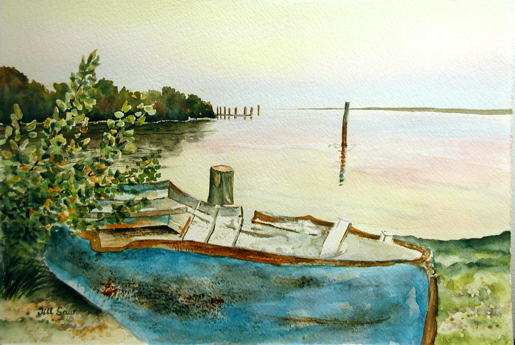 Abandoned Boat Painting by Jill Saur