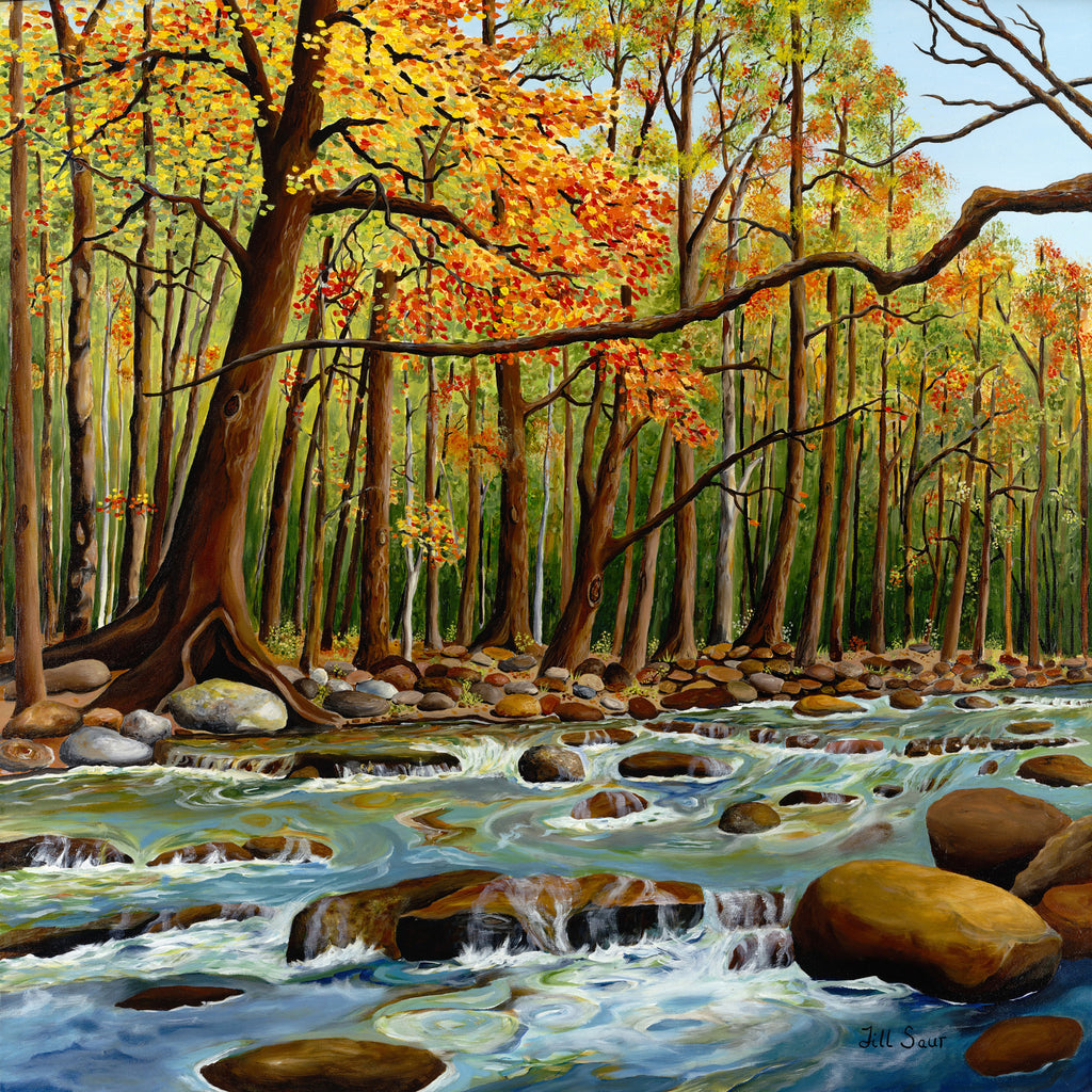 Trees and River in Fall Painting by Jill Saur