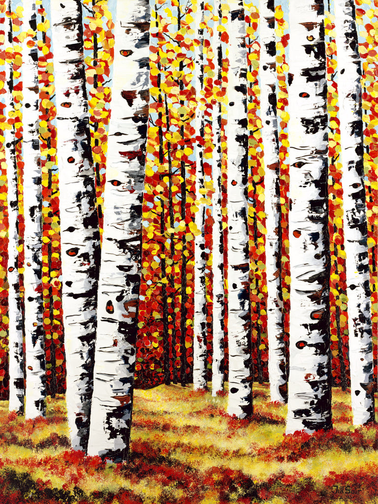Aspen Painting on Canvas by Jill Saur