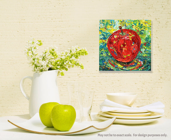 Red Apple Painting by Jill Saur