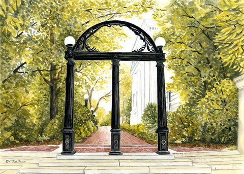 Uga Arch Painting by Jill Saur