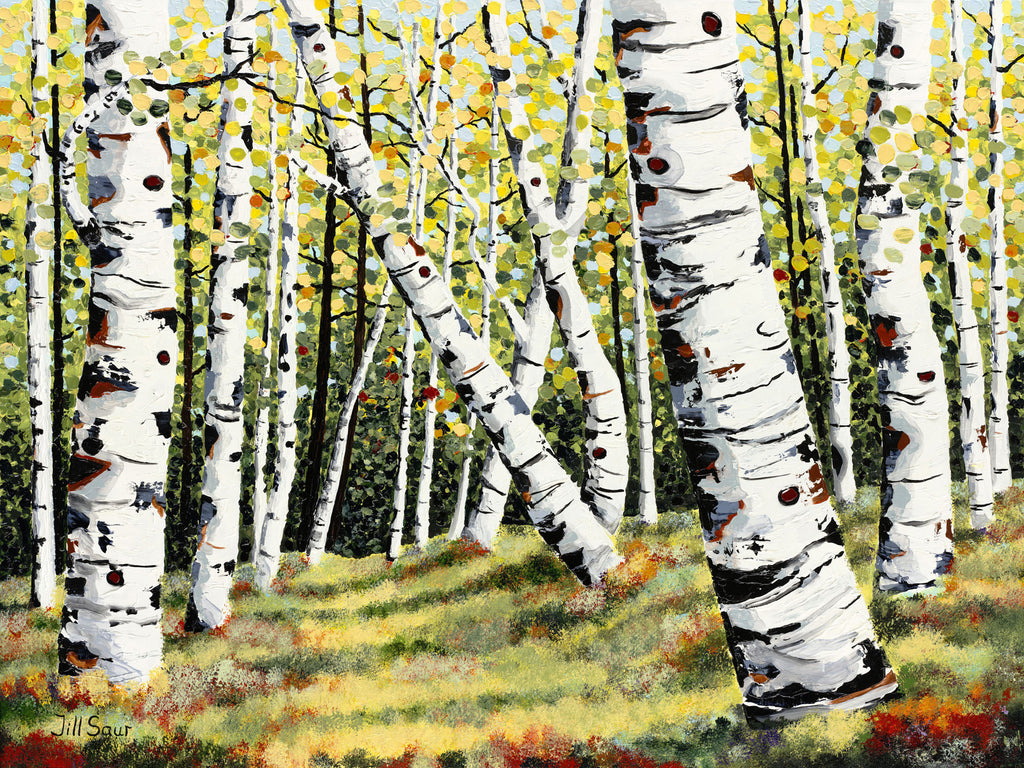 Summer Aspen Tree Painting by Jill Saur
