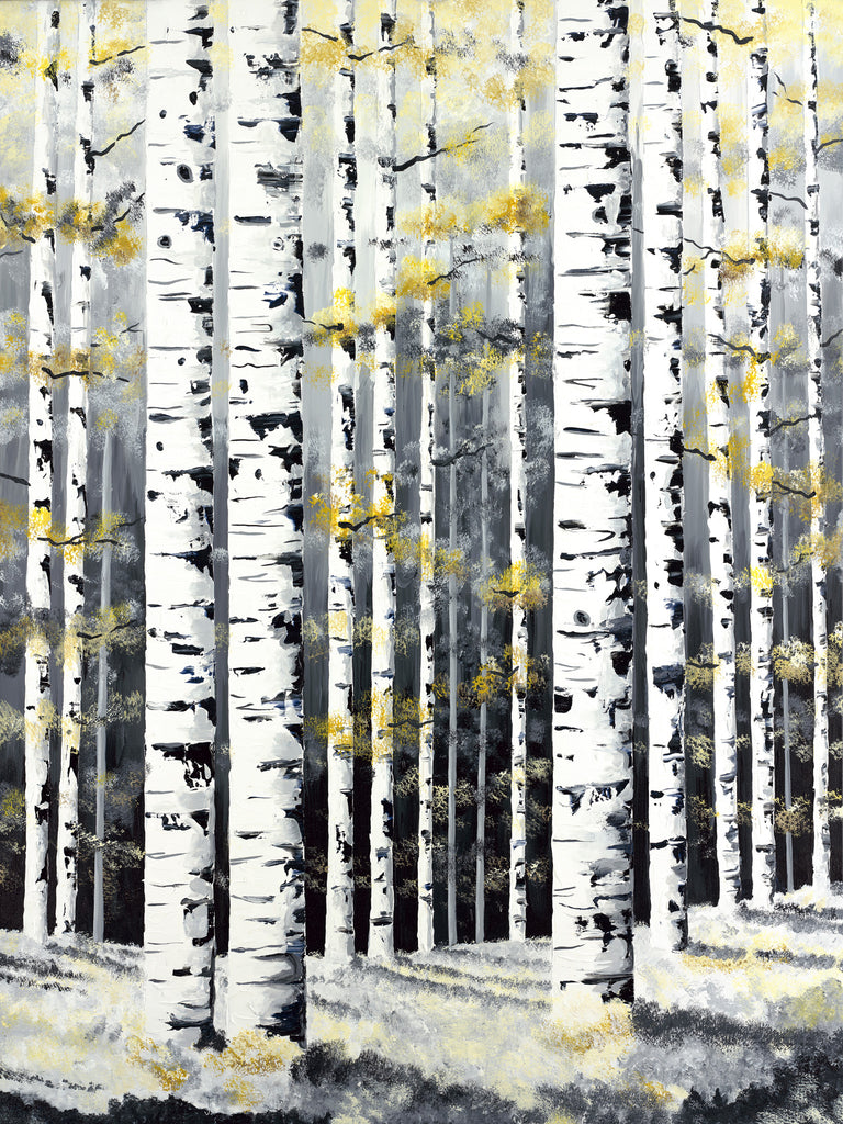 Aspen Trees in Winter Painting by Jill Saur