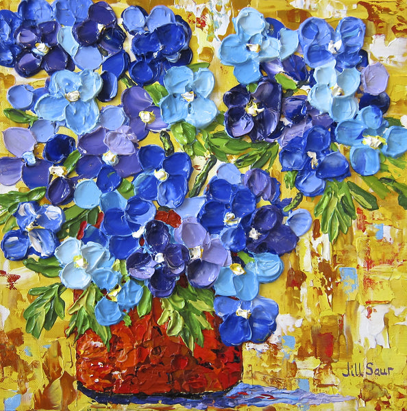 Blue Flowers Painting by Jill Saur