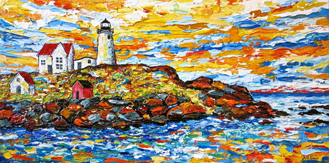 Cape Neddick Lighthouse Painting by Jill Saur