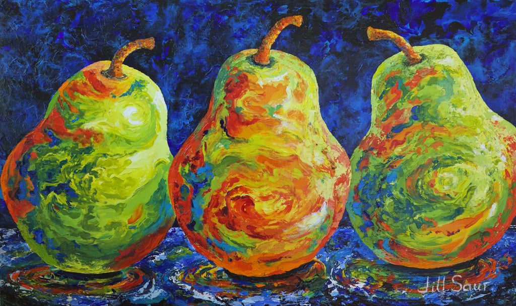 Abstract Pears Painting by Jill Saur