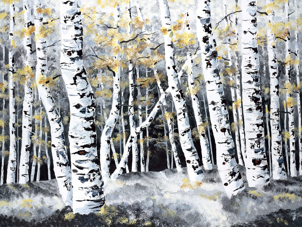 Winter Aspen Painting by Jill Saur