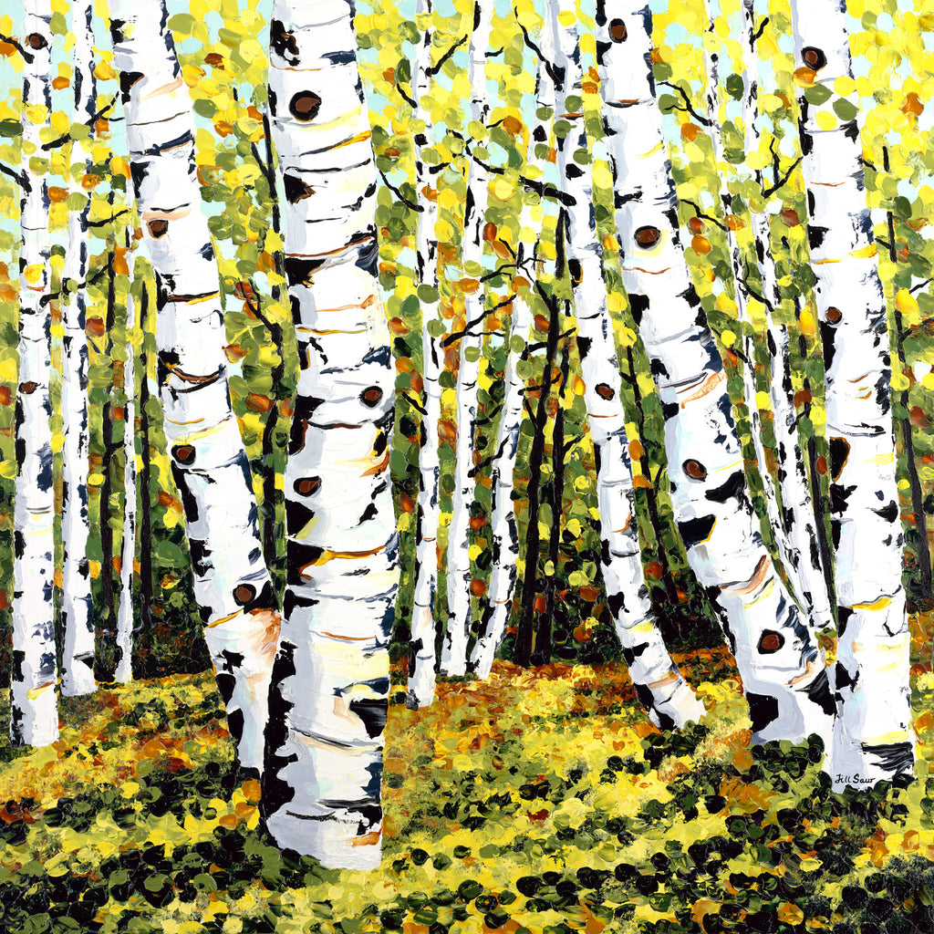 Summer Aspen Trees Painting by Jill Saur