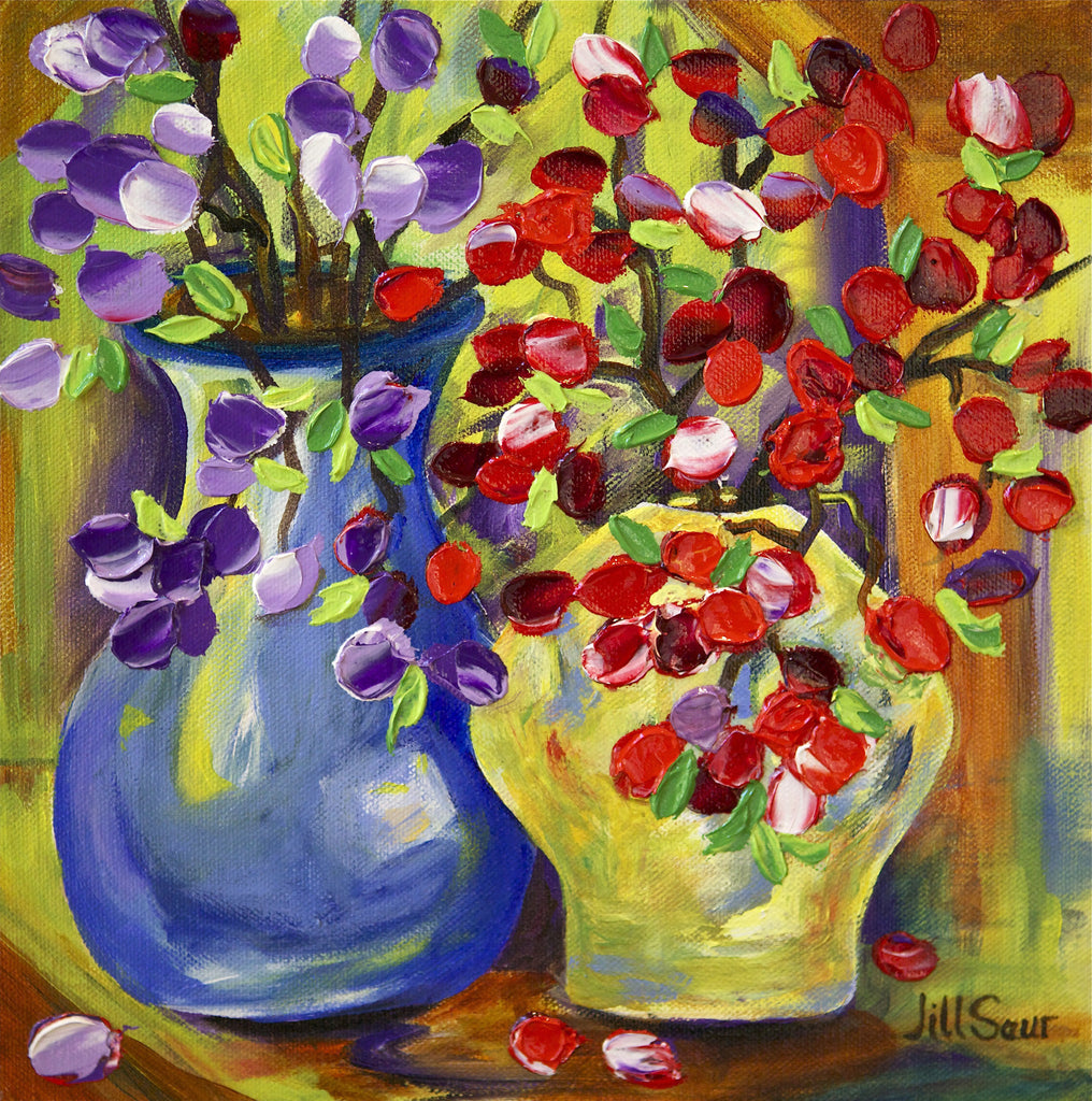 Flowers In Vase Painting by Jill Saur