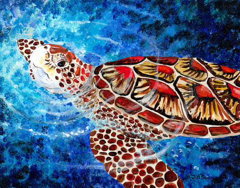 Sea turtle painting by Jill Saur