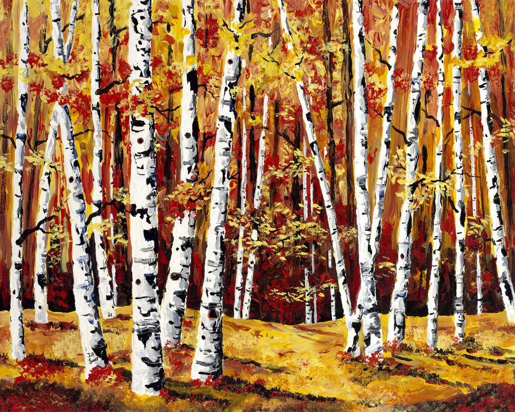 Aspen Trees in Fall Painting by Jill Saur