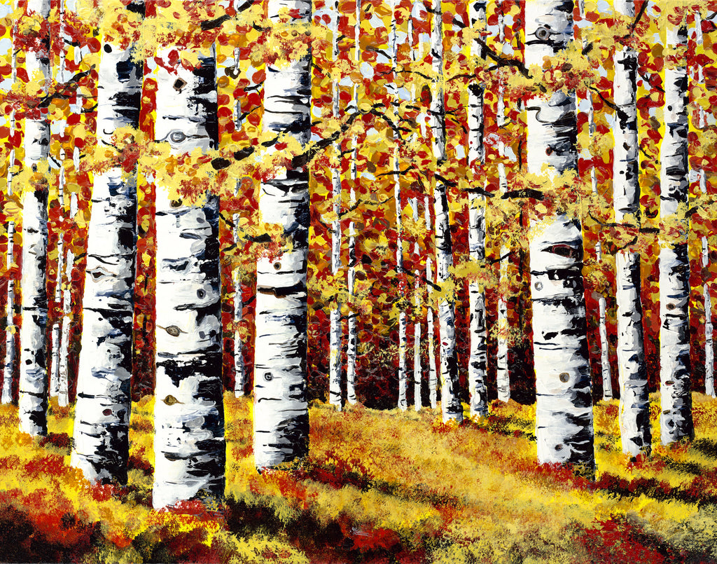 Colorado Aspen Landscape Painting by Jill Saur