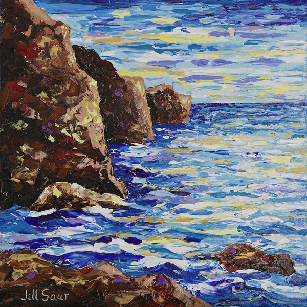 Rocky Coast Painting by Jill Saur