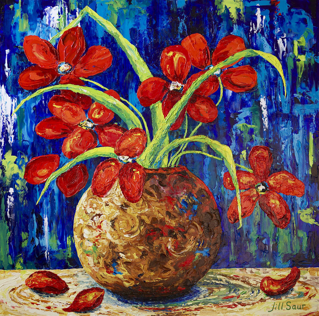Red Flowers Painting by Jill Saur