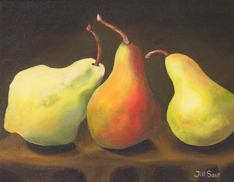 Pears Still Life Painting by Jill Saur