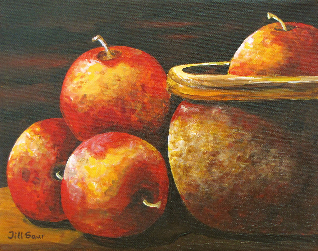 Apples in Bowl Painting by Jill Saur