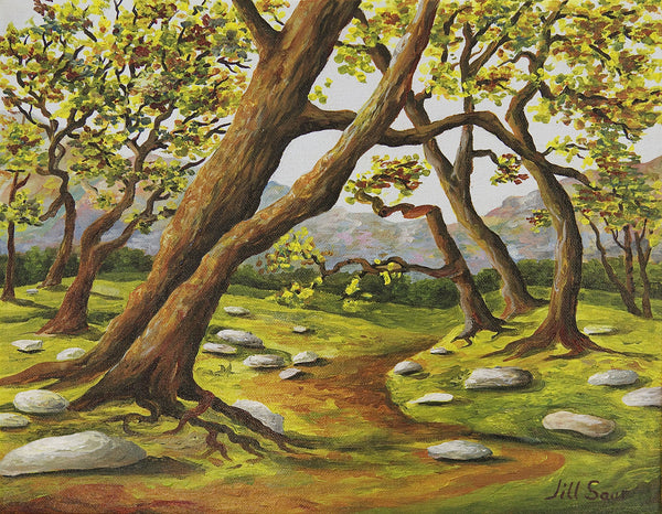 Tree landscape painting with path by Jill Saur