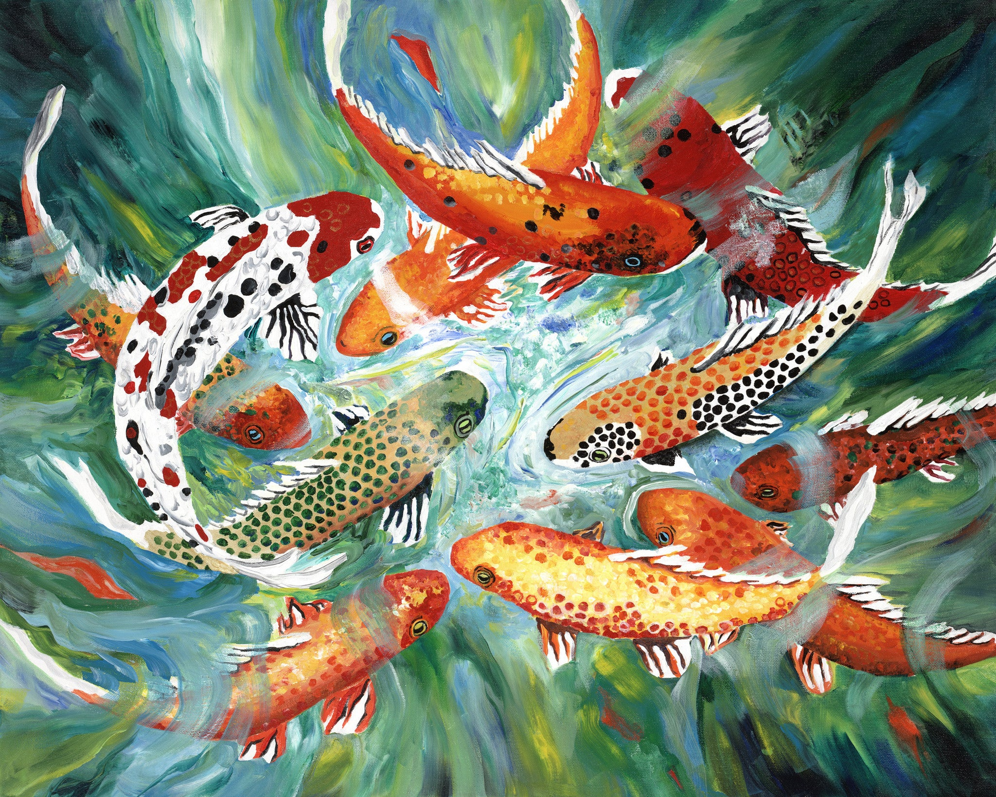 Koi In Pond Painting by Jill Saur