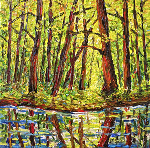 River and Trees Painting by Jill Saur