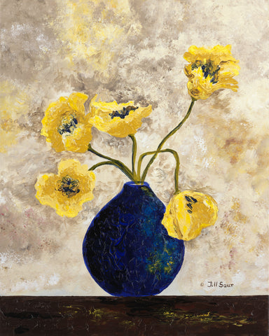Yellow Flowers Painting by Jill Saur
