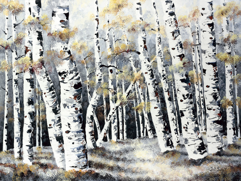 Aspens in Winter Painting by Jill Saur