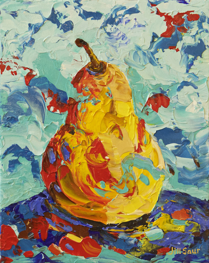 Abstract Pear Painting by Jill Saur