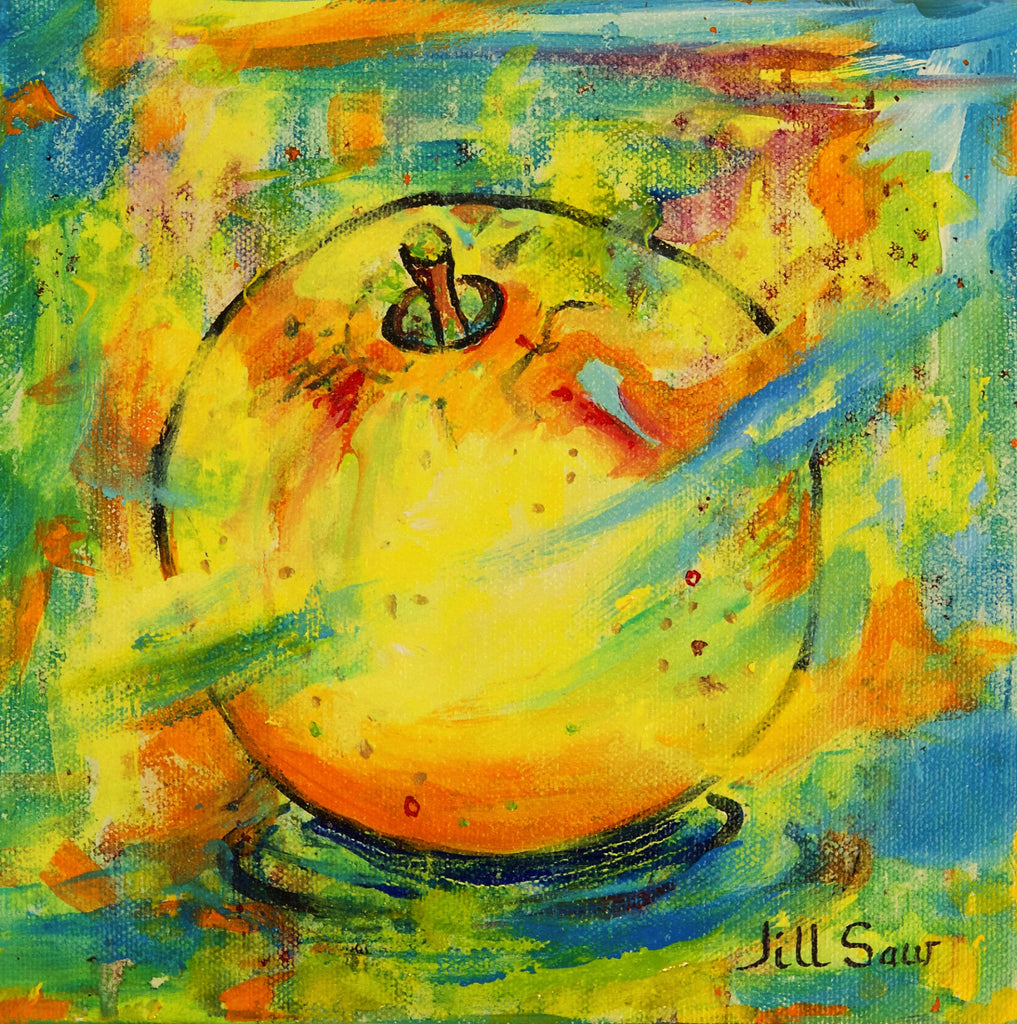 Abstract Apple Painting By Jill Saur