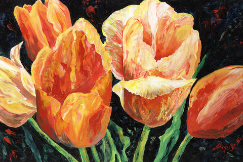 Orange Tulips Painting by Jill Saur
