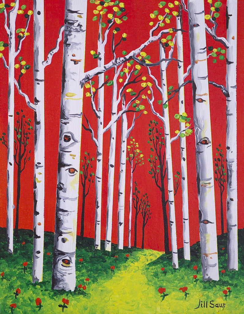 Fall Aspen Tree Painting by Jill Saur