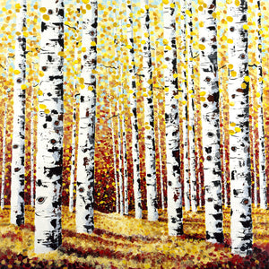 Aspens in Fall Painting by Jill Saur