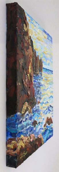 Rocky Seascape Painting by Jill Saur