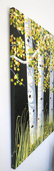Aspen Trees Painting by Jill Saur