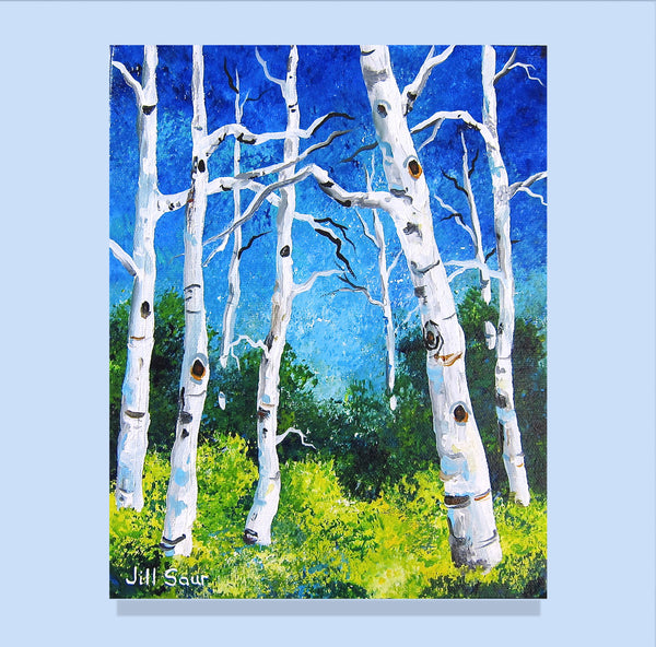 Aspen Tree Painting by Jill Saur
