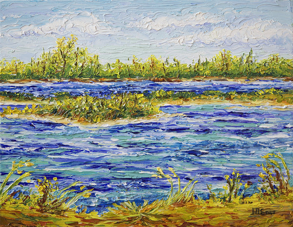 saltwater marsh oil painting by Jill Saur
