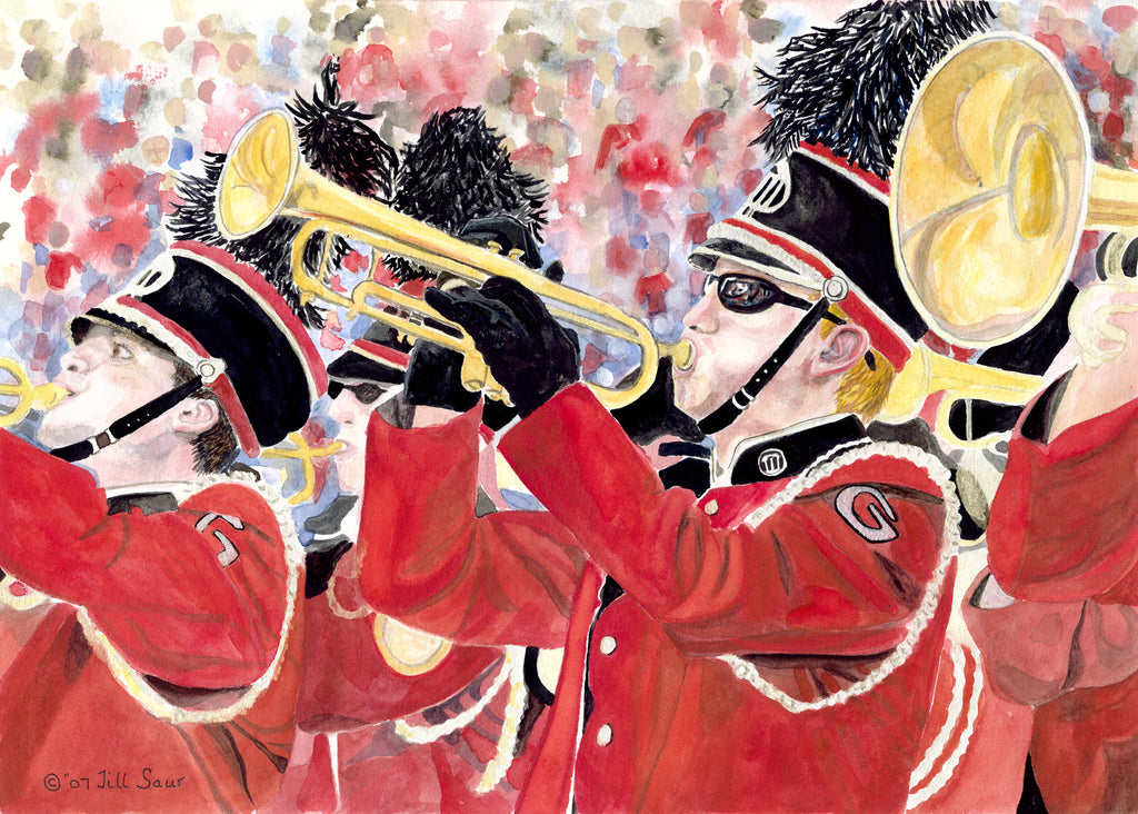 The Red Coat Band Painting by Jill Saur