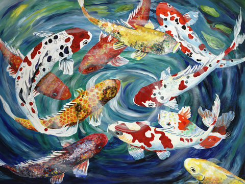 Contemporary Koi Painting by Jill Saur