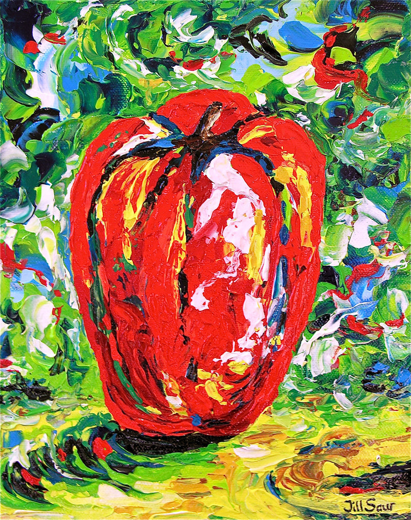 Red Pepper Painting by Jill Saur