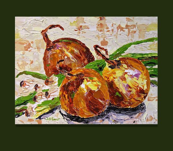 onions still life painting by Jill Saur