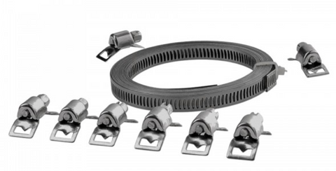 9 Piece Cut-To-Size Stainless Steel Hose Clamp Set   Versatile worm drive hose clamp in durable stainless steel. Suitable for fastening large or non-standard size hoses. Features a continuous reel length of 2.5m in length and includes 8 tensioning clips to create multiple clamps. Strap width: 8mm.