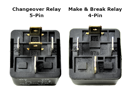 picture of a changeover relay and a make or break relay