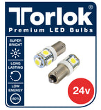 24v Ba9 LED Truck Bulbs, 5 x LED Replaces 249 (T4W) Pack of 2