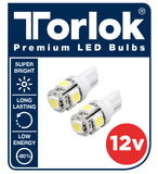 12V T10 LED PARKING LIGHT BULBS FOR CARS / SUPER BRIGHT / Pack of 2 / Torlok