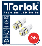 Torlok Premium 24v T10 LED Parking Light Bulbs for Trucks /  Pack of 2